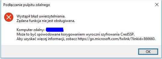 Problem z dostępem do serwera RDP po aktualizacji Windows w Maju 2018?
